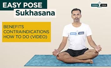 sukhasana easy pose benefits how to do  contraindications